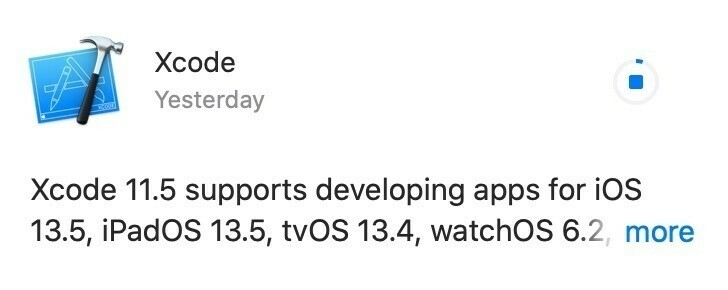 XCode update downloading from the Mac App Store, a tiny sliver of progress is visible.